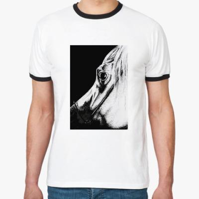 Футболка Ringer-T черно-белая лошадь