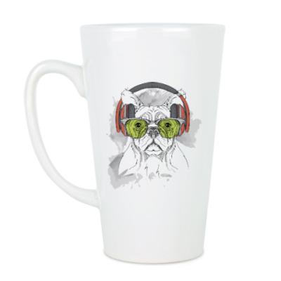 Чашка Латте Собака в зеленых очках