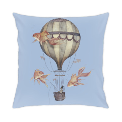 Подушка Рыбак на воздушном шаре