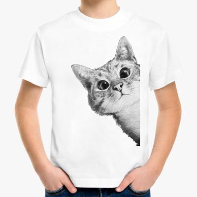 Детская футболка Любопытный котик