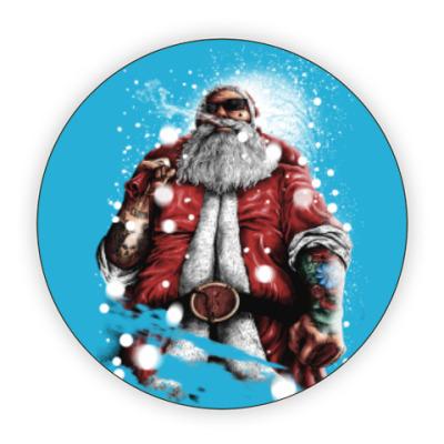 Костер (подставка под кружку) Четкий Санта Клаус с подарком