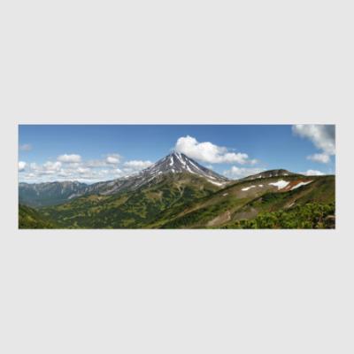 Постер Пейзаж полуострова Камчатка: лето, вулкан и горы