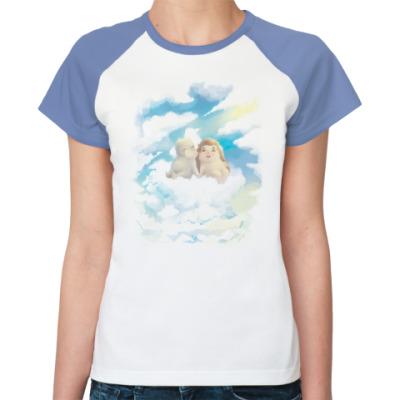 Женская футболка реглан Двое на облаке
