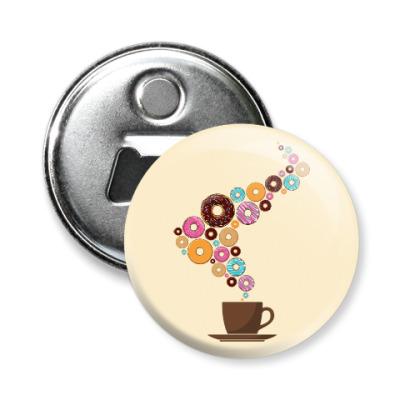 Магнит-открывашка Кофе с пончиками