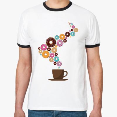 Футболка Ringer-T Кофе с пончиками
