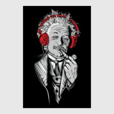 Постер Albert Einstein relaxed