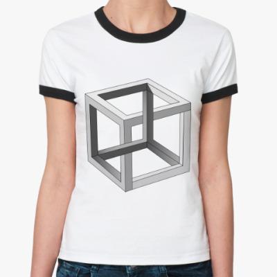 Женская футболка Ringer-T Невозможный Куб 3D