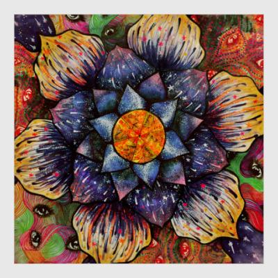 Постер Цветок, космос, глаза, звезды