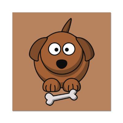 Наклейка (стикер) Собачка с косточкой