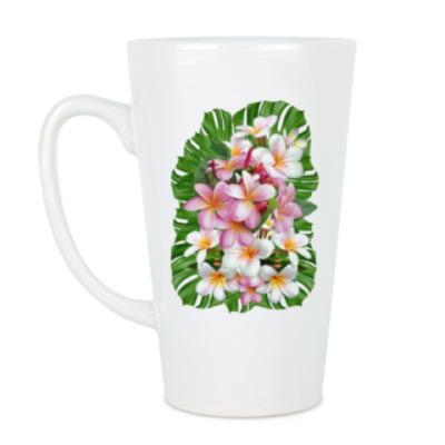 Чашка Латте Тропические цветы