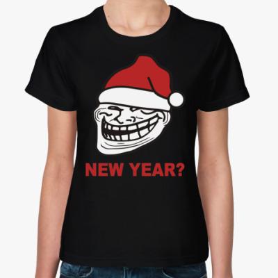 Женская футболка Новогодний Trollface