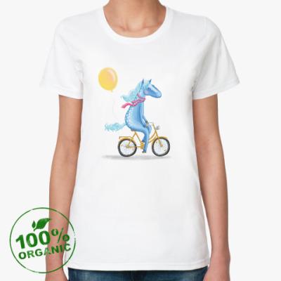 Женская футболка из органик-хлопка Лошадка на велосипеде