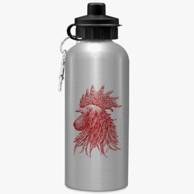 Спортивная бутылка/фляжка Красный петух символ Года