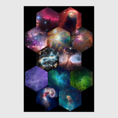 Постер Космический гексагон