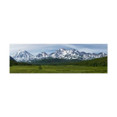 Виниловые наклейки Пейзаж полуострова Камчатка: лето, горы и вулканы