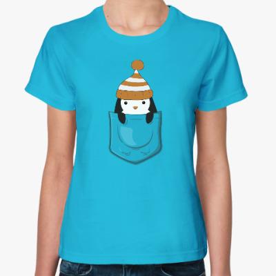 Женская футболка Пингвин в кармашке