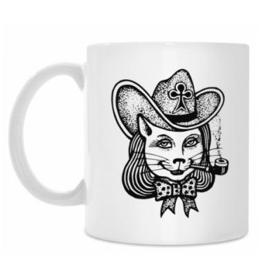 Кружка Кошка в шляпе с трубкой