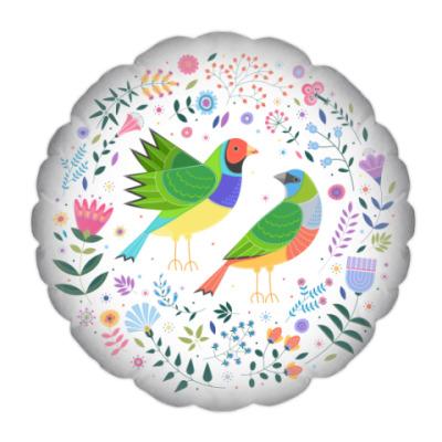 Подушка Разноцветные птички среди цветов