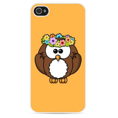 Чехол для iPhone Сова с цветами