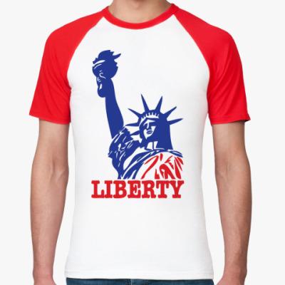 Футболка реглан Статуя Свободы-надпись Liberty