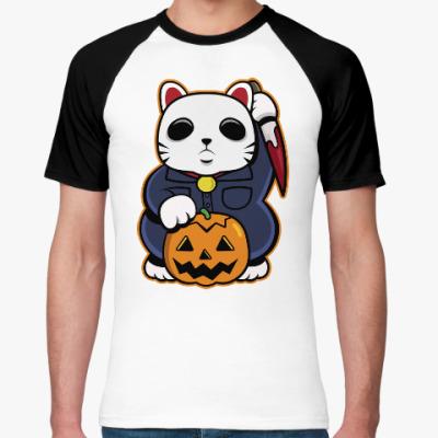 Футболка реглан Halloween Maneki Neko и тыква