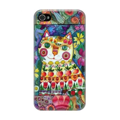Чехол для iPhone 4/4s кот декоративный летний