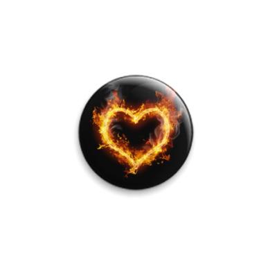 Значок 25мм Сердце из огня