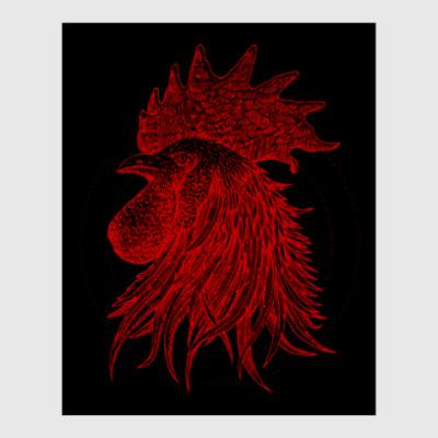 Постер Красный петух символ Года