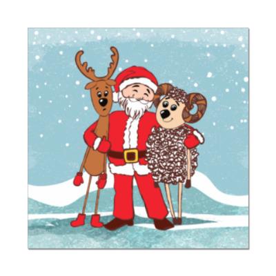 Наклейка (стикер) Дед Мороз, Олень и Овечка