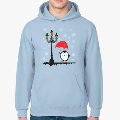 Толстовка худи Пингвин и снег