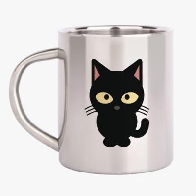 Кружка металлическая Черный Котик