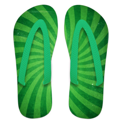 Шлепанцы (сланцы) Зеленые полоски