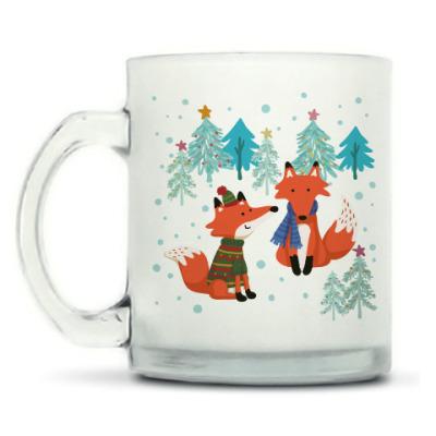 Кружка матовая С лисами в зимнем лесу
