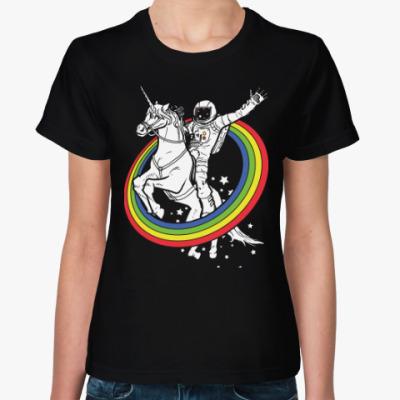 Женская футболка Космонавт на единороге