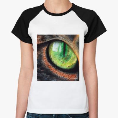 Женская футболка реглан Cat eye