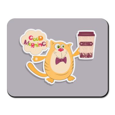 Коврик для мыши Кот, кофе и фраза Доброе утро!