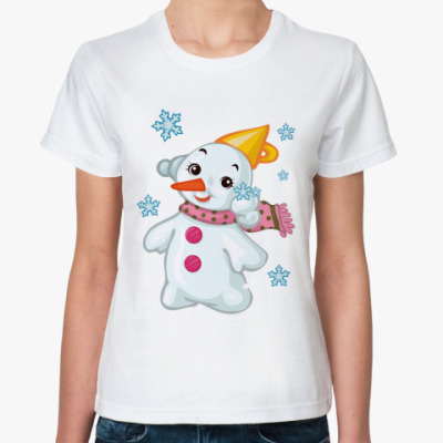 Классическая футболка Снеговик и снежинки