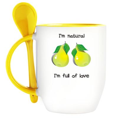 Кружка с ложкой I'm natural, I'm full of love