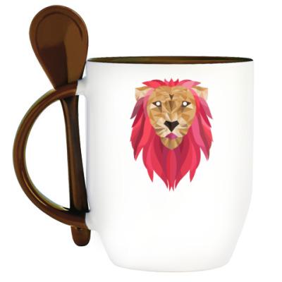 Кружка с ложкой Лев / Lion