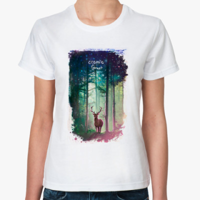 Классическая футболка космический лес
