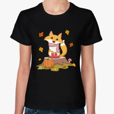 Женская футболка Лиса в осеннюю пору