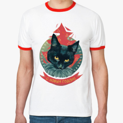 Футболка Ringer-T Новогодний черный кот