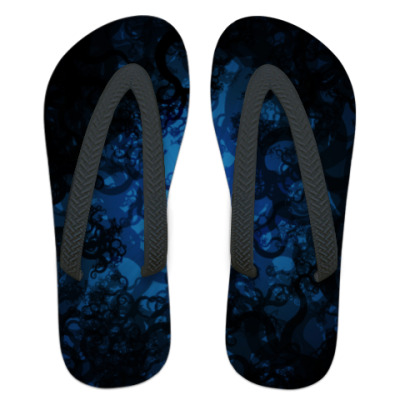 Шлепанцы (сланцы) Темно синие кружева