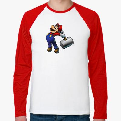 Футболка реглан с длинным рукавом Марио с молотком