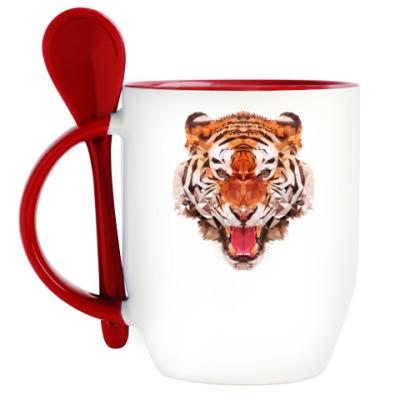 Кружка с ложкой Тигр