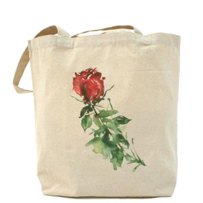 Сумка Роза. Акварельный цветок