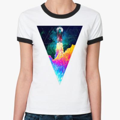 Женская футболка Ringer-T Запуск космического корабля
