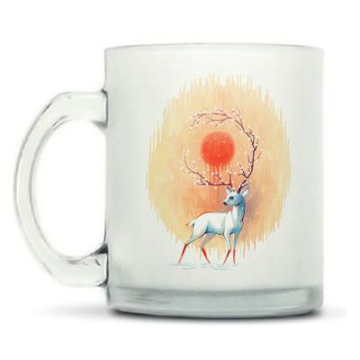Кружка матовая Дух весны белый олень