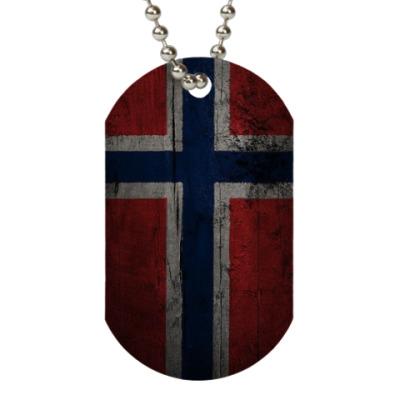 Жетон dog-tag  'Норвежский флаг'