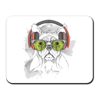 Коврик для мыши Собака в зеленых очках